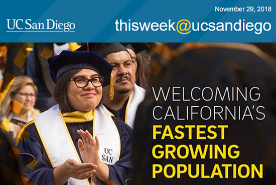 Screenshot of This Week at UC San Diego featuring story title and female Latinx graduate.